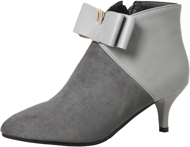AIYOUMEI Women's Pointed Toe Zipper Kitten Heel Sweet Bootie Autumn Winter Ankle Boots with Bow