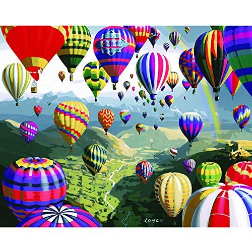 DIY Vorgedruckt Leinwand-Ölgemälde Anime Heißluftballon Malen Nach Zahlen für Erwachsene Kinder Gemälde auf Kits Geschenk Handgemalt Kunst Home Dekor (Ohne Rahmen) 16x20 Zoll