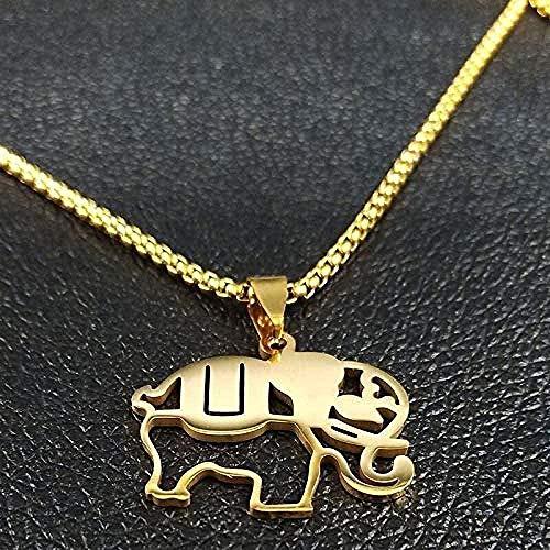YOUZYHG co.,ltd Collar Collar Elefante Collares de Acero Inoxidable para Hombres Collares de Cadena de Color Dorado Regalos de joyería