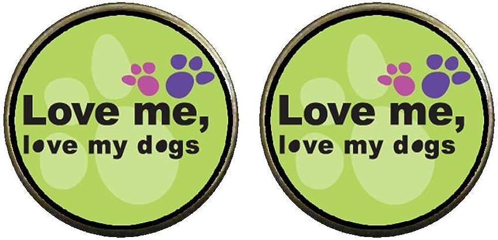 GiftJewelryShop Bronze Retro Style Love Me, Love My Dogs Photo Clip On Earrings 14mm Diameter