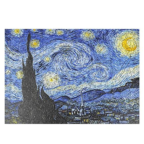 ZMYNB Rompecabezas De Madera 3D, Van Gogh Starry Moon Night Dificultad High Dciesty Irregular Rompecabezas De Madera Adulto, Destellanidad Dificultad