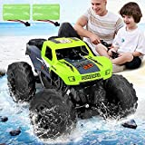 JDBABY Amphibious RC Trucks for Boys,2.4GHz 4WD High-Speed Remote Control Waterproof Car,Off Road Vehicle with 2 Rechargeable Batteries for 40 Mins Play, Gift for Adults and Kids (Green)