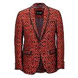 Americana para hombre, roja, con estampado de cachemira, diseño italiano, entallada, tallas 36-54 Rojo rosso 56