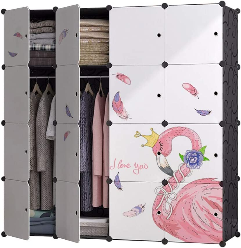 YINGGEXU Clothes Rack Laundry 5% OFF Closet Simple Lovely latest Flam Wardrobe