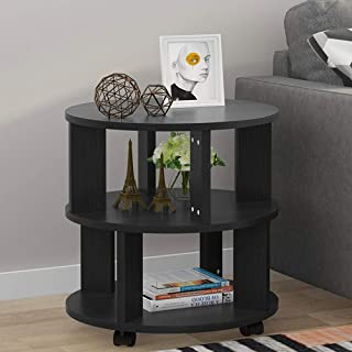 Tribesigns Mobile Chair Side End Table, 3-Tier Modern Night Stand Bedside Table with Storage Shelves and Rolling Wheels for Living Room, Bedroom (Black)