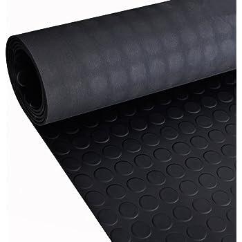 120 cm x 1000 cm, Grau Floordirekt Noppenmatte Geruchsarm Bodenmatte Gummil/äufer 3mm dick Gummimatte Flachnoppen Schwarz