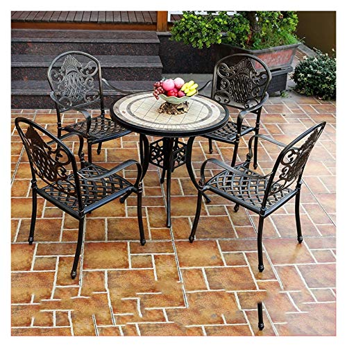 DYYD Outdoor Table and Chairs Bistro Table Set, Antique Bronze Rose 5 Piece, Outdoor Patio Table and Chairs Furniture, Durable Rust Weather Resistance Garden Furniture Sets
