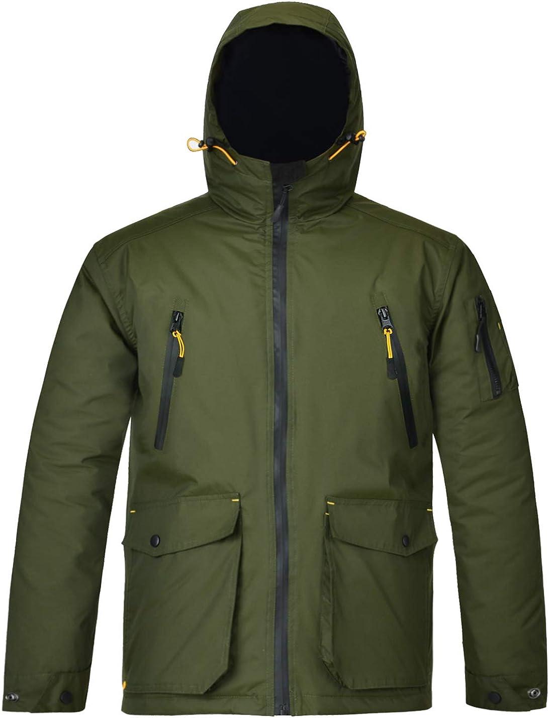 HARD LAND Men's Winter Work Jacket Waterproof Hooded Insulated Coat Parka Outerwear