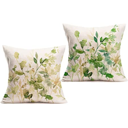 Flora Green Cotton Poplin Pillowcase Oriental Lily /& Rose Living Room Sofa Cushion cover Printed Home Decor Pillow,ISAS-MIN-FL-555