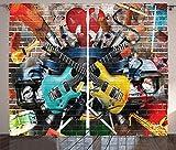 ABAKUHAUS Música Cortinas, Collage Instrumento Alegre, Sala de Estar Dormitorio Cortinas Ventana Set de Dos Paños, 280 x 175 cm, Multicolor