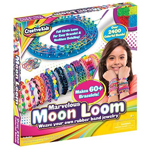 Moon Loom DIY Rubber Band Bracelet Making Craft Kit for Kids Boys Girls & Adults - Colored Rubber Bands for 60+ Bracelets - Rubberband Maker Set, Birthday Holiday Craft Kids Gift Set Ages 8-12