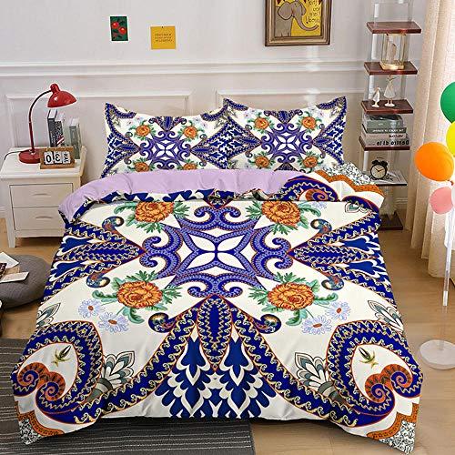 HGFHKL 3D Mandala 3 Piezas Juego de Cama de Estilo Bohemio Edredón Funda de Almohada Sábana Decoración para el hogar Textil 3 Piezas