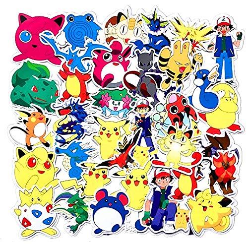 YUNMEI Pegatinas 18 unids Pokemon Toy Graffiti Sticker Skateboard teléfono móvil autocollant Tablet Computer Pikachu Pegatinas