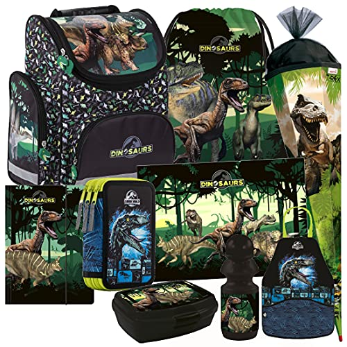 Dinosaurier Dino 9 Teile Set Schulranzen RANZEN Tasche TORNISTER SCHULTÜTE 85 cm Federmappe mit Sticker von Kids4shop
