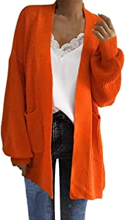 Women's Loose Long Sleeve Open Front Lantern Sleeve Cardigan Tops Sweater Knit Coat with Pocket