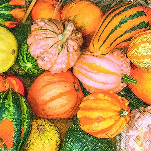 Home Collection Servietten Herbst mit Kürbissen-Motiv, 3-lagig, Pumpkin Tischdeko, 33x33cm, 2er Set / 40 Stück
