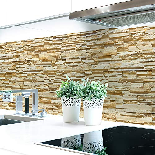 Küchenrückwand Steinwand Hell Premium Hart-PVC 0,4 mm selbstklebend 60x51cm