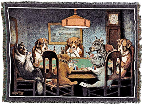 Pure Country Weavers Dogs Playing Poker Blanket Throw Woven from Cotton - Made in The USA (72x54)