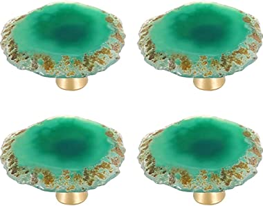MOCOHANA Set of 4 Agate Slice Cabinet Knobs Drawer Pull Handles Kitchen Cupboard Pull Wardrobe Cabinet Hardware Dresser Door Handle Bedroom Furniture Handle with Screw (Green)