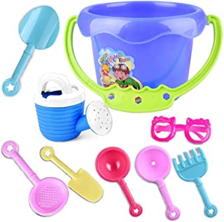 Kids Beach Sand Toys Set, Hamkaw 9 PCS Fun Sand Castle Building Kit- Sand Sifter Scoops Rake Pail Shovel Buckets Watering Can, Cool Summer Plastic Sandbox Toys for Boys & Girls Party Supplies