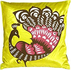 Pillow Decor - Proud Peacock Chartreuse Green Throw Pillow