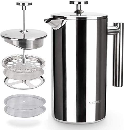 wholesale Secura outlet sale French Press Coffee Maker, 304 Grade discount Stainless Steel Insulated Coffee Press with 2 Extra Screens, 34oz (1 Litre), Silver outlet sale