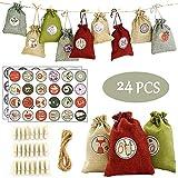 ARTESTAR Calendario de adviento Bolsa chuches Navidad,24 Bolsas de Navidad Pegatinas Regalo Pinzas Madera pequeñas Calendario Kinder