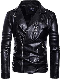 MISSMAO Mens Motorcycle Zip Up Biker Leather Jacket