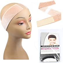 JFFX Lace Wig Grip Band Non Slip Adjustable Velvet Head Band with 1 Piece Mesh Wig Cap (Beige)