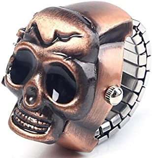 Unisex Retro Vintage Finger Skull Ring Watch Clamshell Watch