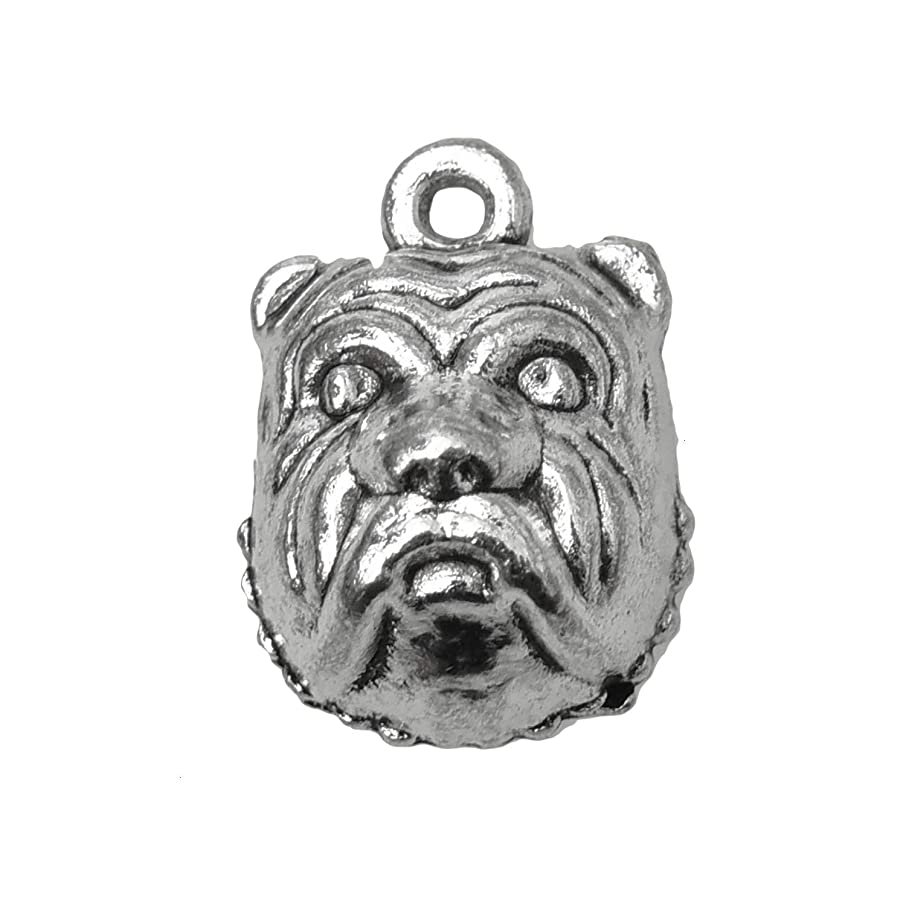 Monrocco 50 Pcs Antique Silver Pug Dog Bulldog Charms Pendant Puppy Charms Pendant for Bracelets Jewelry Making
