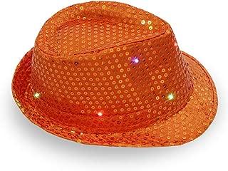1 Pc LED Light Up Sequin Jazz Hat, Adult Glitter Sequins Light Up Party Cap - Assorted Colors
