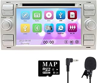 NVGOTEV Car Audio Stereo Headunit Fits for Ford Old Focus 2005 2006 2007 DVD Player Radio 7 Inch HD Touch Screen GPS Navigation with Bluetooth Steering Wheel Control 8GB Map Card