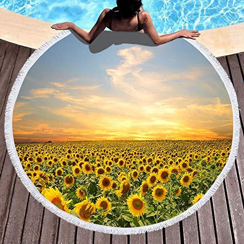 BCDJYFL Impresas Toalla De Playa Girasol Sol Toallas De Playa Microfibra Toallas De Yoga para Exteriores Suaves Y Absorbentes.-Diámetro: 150Cm