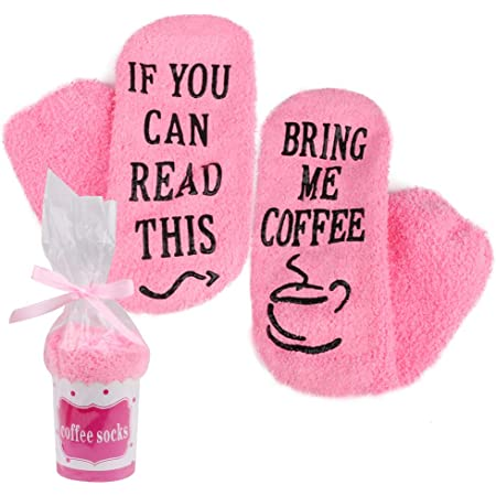 iZoeL If You Can Read This Bring Me Socks Funny Socks Non-slip Chocolate Coffee Socks Gift Box Packaging Novelty Birthday Valantine Gift for Women Wife Daughter Girlfriend Mother