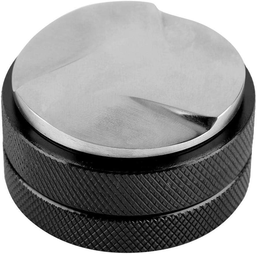 Distribuidor de café inteligente de acero inoxidable con base de 58 mm con tres pendientes anguladas herramienta niveladora para café expreso (negro)