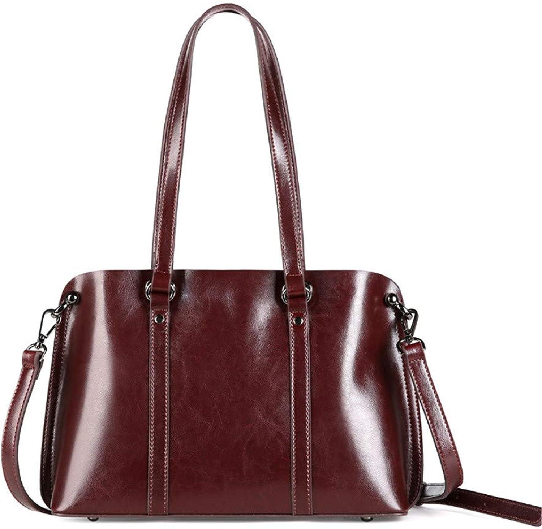 Sturdy Women's Handbag Leather Shoulder Messenger Handbag Female Handbag Large Capacity Leather Casual Ladies Handbag Large Capacity (color   Coffee color)