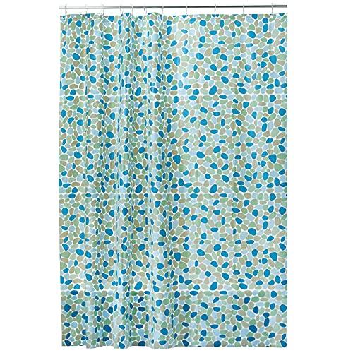 mDesign Duschvorhang – wasserabweisender Badewannenvorhang mit dekorativem Kieselsteinmuster – hochwertiger Vorhang aus PEVA – PVC-frei & umweltfre&lich – blau