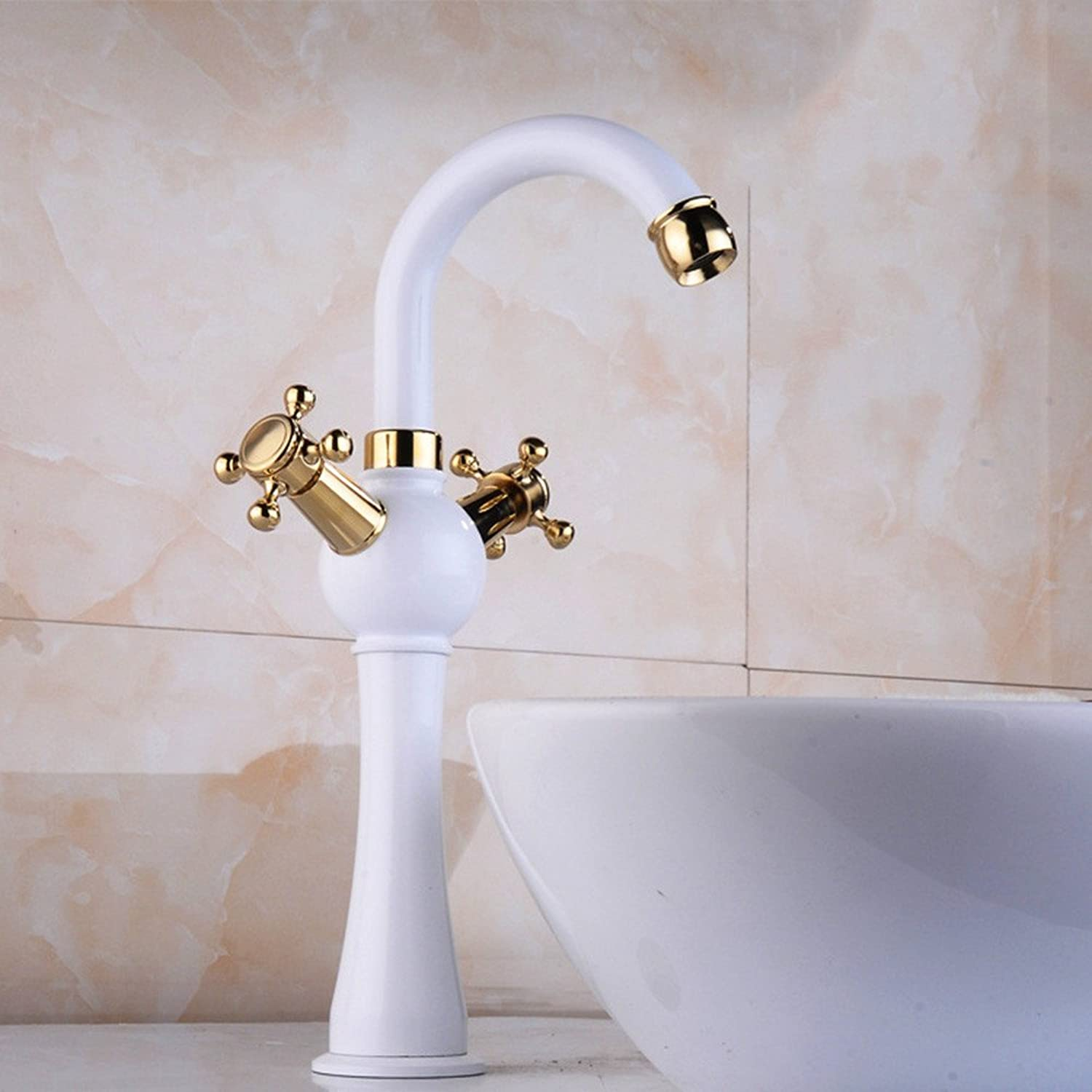 White paint _ countertop art basin leading white paint gold plated faucet