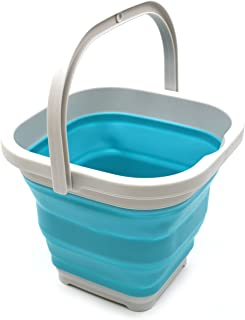 SAMMART 5L (1.3 Gallon) Sqare Collapsible Plastic Bucket - Foldable Square Tub - Portable Fishing Water Pail - Space Savin...