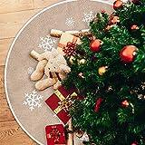 Tatuo Falda de Árbol de Navidad Falda de Árbol de Arpillera Impresa de Copo de Nieve Blanco Funda de Base de Árbol para Navidad Fiesta Decoraciones (120 cm)