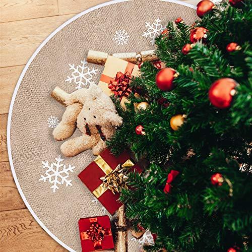 Tatuo Weihnachtsbaum Rock Weiße Schneeflocke Gedruckt Sackleinen Baum Röcke Base Abdeckung für Weihnachten Weihnachtsfeiertag Dekorationen (100 cm)