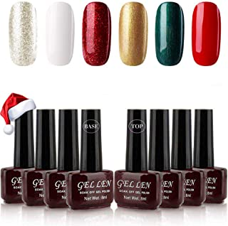 Gellen Christmas Series Gel Nail Polish Kit 6 Colors With Top Coat Base Coat - Special Winter Holiday Nail Gel Collection Home Gel Manicure Set