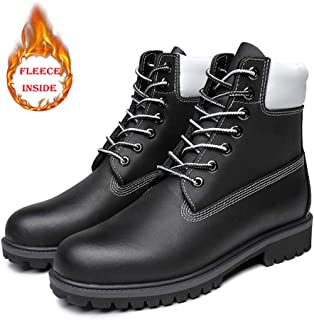 Casual shoes. Men's Ankle Boots Casual Round Toe Shoes (Warm Velvet Optional) (Color : Warm Black, Size : 47 EU)