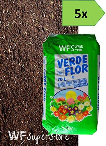 WUEFFE Terriccio Universale Biologico 70% Torba - 5 Sacchi 70 lt. - orto Fiori Piante Prato 80