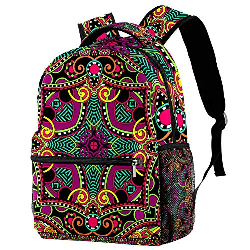 Backpacks for Adults Boys Girls Kids Durable Travel Business Bags Laptop Bags Daypack for School Outdoor Work Black Square Mandala Pattern