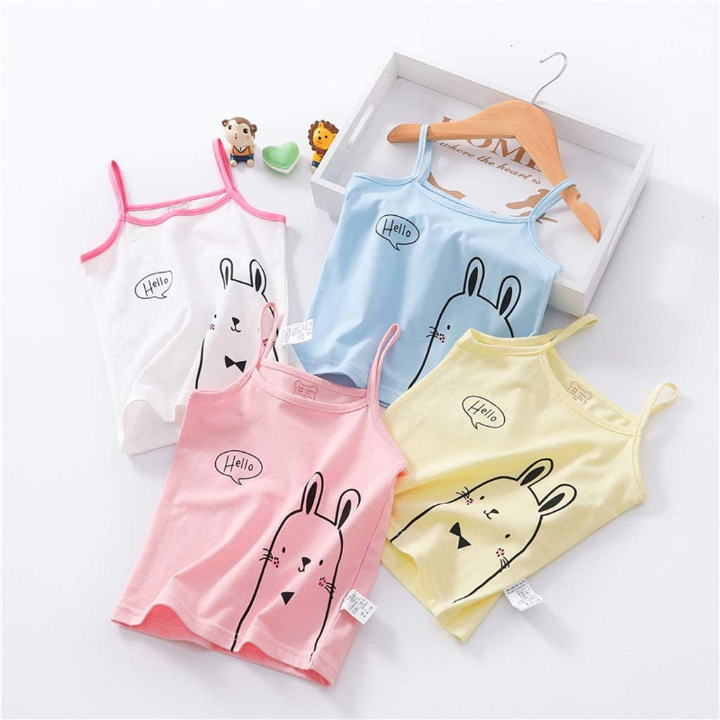 LNGRY Baby Clothes,Toddler Kids Girls Strap Candy Color Cartoon Vest Tank Top T-Shirt Undershirt Sunsuit