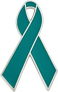 PinMart Teal Awareness Ribbon Enamel Lapel Pin