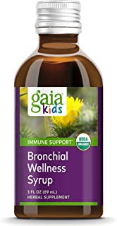 Gaia Herbs, GaiaKids Bronchial Wellness Syrup, Immune Health, Soothing Throat and Respiratory Support, Organic Honey Lemon...
