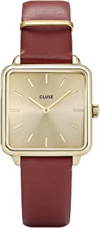 CLUSE LA TÉTRAGONE Gold Scarlet Red CL60009 Women's Watch 29mm Square Dial Leather Strap Minimalistic Design Casual Dress Japanese Quartz Elegant Timepiece